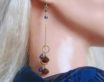 Chalcedony Amethyst Earrings- Gold Filled