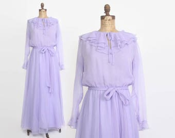 Vintage 70s Chiffon DRESS / 1970s Sheer Lavender Ruffled Maxi Dress with Belt XS - S