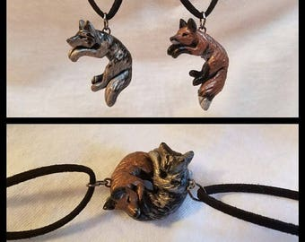 Interlocking Wolf and Fox Love Necklaces His and Hers Cuddle Couple