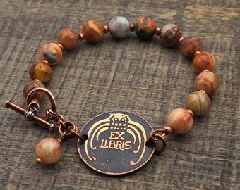 Owl bracelet, ex libris bookplate, metal etching, Venus jasper beads, warm pastel earthtones, 7 3/4 inches long