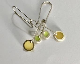 Silver and Resin Mid-Century Modern Earrings in Yellow and Green/ Spring and Summer Chandelier Earrings