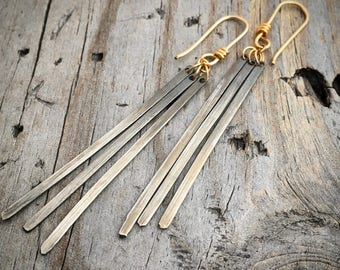 Gold and Sterling Silver Earrings Handmade by Wild Prairie Silver Jewelry