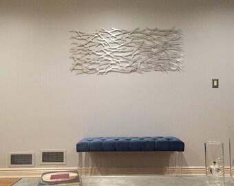 Metal Wall Art Sculpture  Abstract Wall Sculpture Metallic Home Decor Aluminum 60 x 24