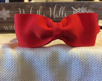 CLASSIC Red Woven Headband with DOUBLE Red Ribbon Bow attached Stunning Boutique Quality Solid Red