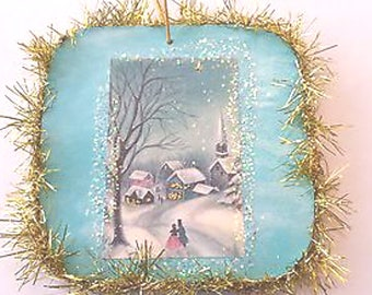 Vintage Style Winter Church Glittered Wood Christmas Ornament