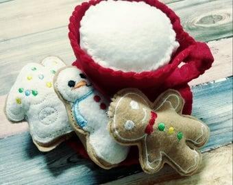 Felt Santa Cup - cup with felt milk - felt food - felt Christmas cookies - gingerbread house - gingerbread man - snowman - pretend kitchen