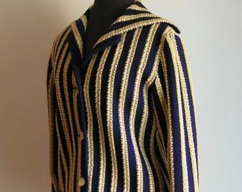 Vintage Blue and Beige Wide Stripe Wool Cardigan Sweater with Sailor Neckline