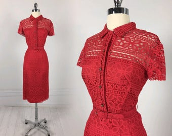 Vintage 40s 50s Red Lace Day Dress with Rhinestone buttons & belt Annabella's Santa Fe southwestern rockabilly pin-up L metal zipper