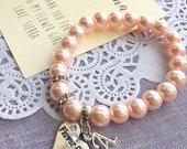 Blush pink flower girl bracelet, pink glass pearl bracelet, flower girl jewelry, Comes with FREE personalized notecard and Organza bag.