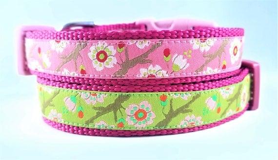 Cherry Blosson Dog Collar / Adjustable / Small Dog Collar / Cherry Blossom Tree / Pink / Green / Girl Dog Collar / Pet Lover / Spring