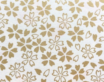 Chiyogami Washi Japanese Paper Sheet 18x24 inches - gold flowers on white
