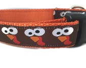 Thanksgiving Dog Collar, Turkey Faces, 1 inch wide, adjustable, quick release, metal buckle, chain, martingale, hybrid, nylon