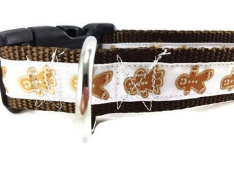 Christmas Dog Collar, Gingerbread White, 1 inch wide, adjustable, small, 11-14 inches