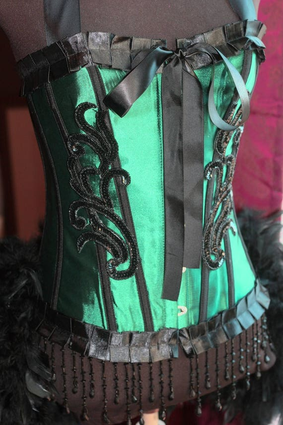 Medium - ABSINTHE Green Fairy Costume Circus Burlesque Corset Feathers Black outfit