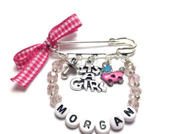 Personalized baby girl - changing - Nappy bag - Pram charm  - New mommy - Baby shower - baptism - birth announcement -stroller
