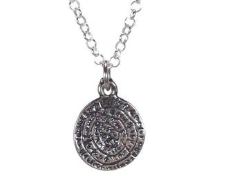 Sterling silver Minoan phaistos Disc necklace - Greek jewelry