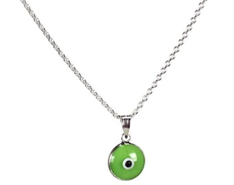 Evil eye necklace - Green pistache eye - 925 sterling silver - protection - Greek jewelry