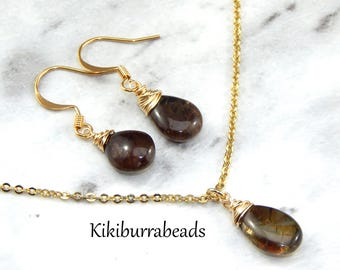 Andalucite Necklace And Earrings Set,Brown Andalucite,Wire Wrapped Gemstones,Gold Filled Necklace And Earrings,Birthday Gift
