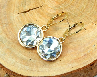 Clear Crystal Earrings,Round Earrings,Drop Earrings,Gold Earrings