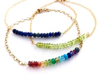 Lapis Lazuli Gemstone Bracelet. Faceted Genuine Natural Gemstone Gold Bracelet. 14k Gold Filled Dark Blue Bracelet.