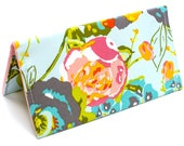 Monogrammed Checkbook Wallet Check Cover Fabric Checkbook Cover | Aqua Gray Pink Floral