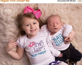 ON SALE Sibling Shirt Set Big Sister to a Little Mister and Little Mister  Brother Sister Shirt Set