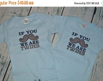 ON SALE If you Mustache we are Twins set of 2 Bodysuits