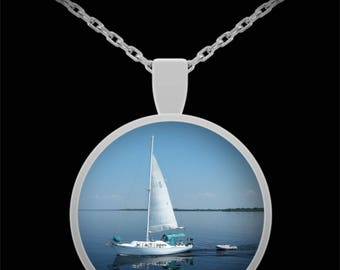 Sailboat in Harbor Pendant Necklace - Photographic Gift - Wearable Photo