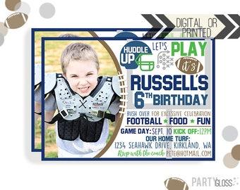 Football Birthday Invitation | Digital or Printed | Football Invitation | Seattle Invitation |  Football Invite | Seattle Football Invite |