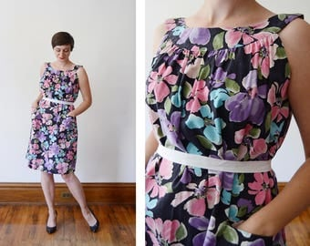 60s/70s Pastel and Black Floral Tent Dress with Apron Pockets - S/M