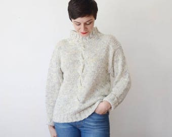Summer Sale - 80s Cable Knit Turtleneck Sweater - M