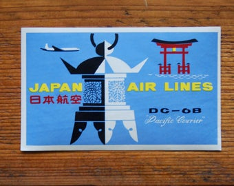 Vintage Japan Air Lines Pacific Courier Travel Decal Gummed Sticker