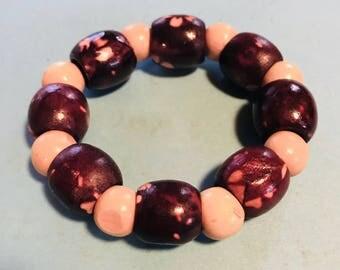 Earthy Wood Bead Bracelet