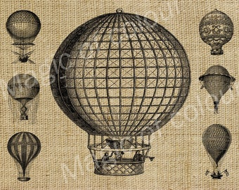 Balloons - Download Digital Image Sheet Transfer to Fabric - Transport N1 - 8.5x11 Inch (A4) JPG images
