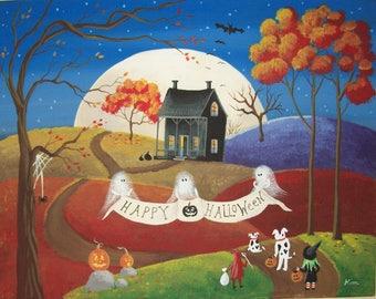 Folk Art Print~October 31st~Halloween Original Artwork Reproduction by Kim Loe