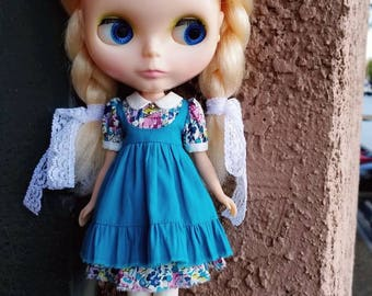 Yoke Babydoll dress for Blythe - Tile Blue