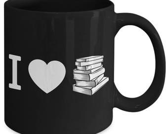 I Heart Love Books Reading Coffee Mug