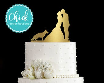 German Shepherd Dog Standing Wedding Cake Topper Hand Painted in Metallic Paint with Couple Kissing