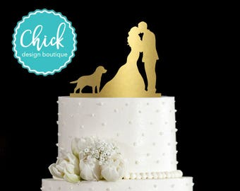 Labrador Retriever Dog Wedding Cake Topper Hand Painted in Metallic Paint with Couple Kissing