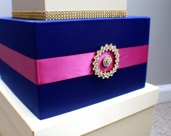 Wedding Card Box / Money box / Cardbox / Card holder / Wedding card holder / Bling / Broach / Crystal Brooch / Blue / Gold / Crystals