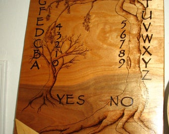ON SALE!~~Spirit Board with Hand Burned Cherry Blossom Tree Design and Pentacle Planchette~Original Art~Divination Tool