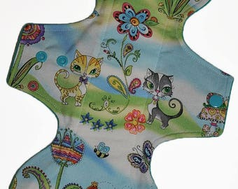 Moderate Hemp Core- Garden Cats Reusable Cloth Goddess Pad- WindPro Fleece 12.5 Inches (31.75 cm)
