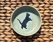 Ceramic CAT Food Bowl - Cat Water Bowl - Handmade Blue-Gray Stoneware Cat Bowl - Black Cat Silhouette - Ready To Ship