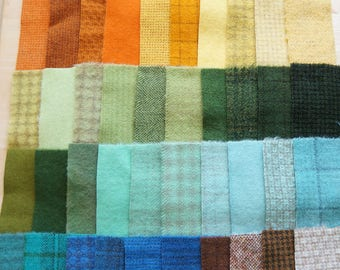 SALE Hand Dyed Felted Wool Scrap Bundle 1291 perfect for Rug Hooking, Applique, Quilting, and Sewing by Quilting Acres