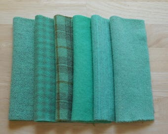 "Hand Dyed Wool Felt, Jade Light Turquoise-Green, Four 5-6"" x 15-16"" pieces, Perfect for Rug Hooking, Applique' and Crafting"