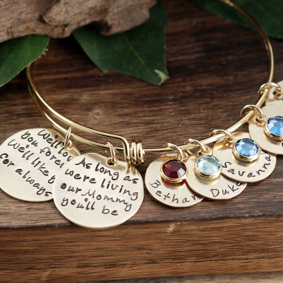 Hand Stamped Mommy Bracelet, We'll love you forever, As long as I'm Living, Personalized Gift for Her, Mother's Bangle, Kids Names Jewelry