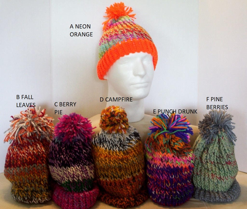 knitted winter hat pom pom adult size gender neutral unisex you choose  color yarn hat ready d782105150af