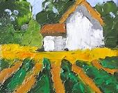 Miniature Impressionist Painting 4x4 Plein Air Landscape Farm House Garden Fields Lynne French