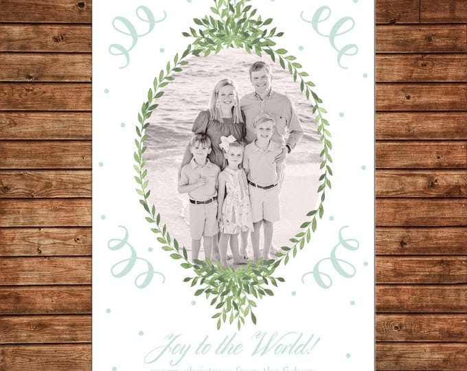 Christmas Holiday Photo Card Watercolor Wreath Mint Elegant Traditional  - Can Personalize - Printable File or Printed Cards