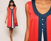 Nightgown Slip Dress 60s MOD Nylon Nightgown Lingerie Babydoll Mini 70s Nightie Red White Blue Boho Vintage Tent Bohemian Medium Large